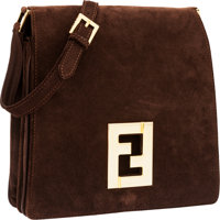 Fendi Brown Suede Shoulder Bag with Gold Hardware