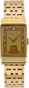 Timepieces:Wristwatch, Hamilton Vintage Gold Wristwatch With Rose & Green Gold Band....