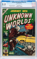 Golden Age (1938-1955):Horror, Journey Into Unknown Worlds #22 (Atlas, 1953) CGC VF 8.0 Cream tooff-white pages....