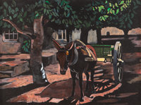JOZEF BAKOS (American, 1891-1977) Pulling the Cart, 1962 Oil on masonite 36 x 47-1/4 inches (91.4
