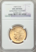Indian Eagles: , 1909-S $10 -- Improperly Cleaned -- NGC Details. Unc. NGC Census:(12/249). PCGS Population (6/322). Mintage: 292,350. Numi...