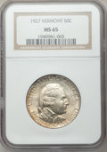 Commemorative Silver: , 1927 50C Vermont MS65 NGC. NGC Census: (768/218). PCGS Population(935/358). Mintage: 28,142. Numismedia Wsl. Price for pro...