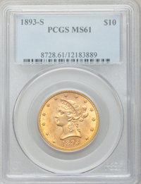 1893-S $10 MS61 PCGS. PCGS Population (94/199). NGC Census: (244/166). Mintage: 141,350. Numismedia Wsl. Price for probl...