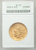 Indian Eagles: , 1910-S $10 AU55 ANACS. NGC Census: (206/1227). PCGS Population(294/1177). Mintage: 811,000. Numismedia Wsl. Price for prob...