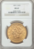 Liberty Double Eagles: , 1891-S $20 MS62 NGC. NGC Census: (1882/536). PCGS Population(1805/891). Mintage: 1,288,125. Numismedia Wsl. Price for prob...