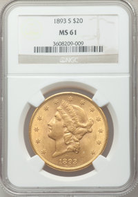 1893-S $20 MS61 NGC. NGC Census: (2226/1977). PCGS Population (1039/2005). Mintage: 996,175. Numismedia Wsl. Price for p...