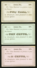 Obsoletes By State:Ohio, Atwater, OH- Unknown Issuer 10¢; 25¢; 50¢ Remainders Wolka 0102-02;-03; -04. ... (Total: 3 notes)