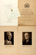 Miscellaneous:Ephemera, [Franklin D. Roosevelt]. Two Inauguration Invitations, One PartyInvitation, and One Program.... (Total: 4 Items)