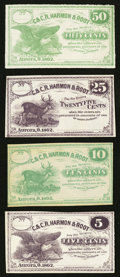 Obsoletes By State:Ohio, Aurora, OH- C. & C.R. Harmon & Root 5¢; 10¢; 25¢; 50¢Remainders 1862 Wolka 0107-01; -02; -03; -04 . ... (Total: 4 notes)