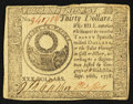 Colonial Notes:Continental Congress Issues, Continental Currency September 26, 1778 $30 Very Fine+.. ...