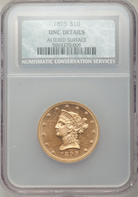 1893 $10 -- Altered Surfaces -- NCS. Unc Details. NGC Census: (1775/31284). PCGS Population (1879/15209). Mintage: 1,840...