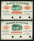 Obsoletes By State:Ohio, Barnesville, OH- Bailey & Frasier 10¢; 25¢ Jan. 1, 1863 Wolka0119-02; -03. ... (Total: 2 notes)