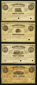 Obsoletes By State:Ohio, Bluffton, OH- Vance's Store 5¢; 10¢ Remainder; 25¢ Remainder; 50¢Remainder Dec. 1, 1862 Wolka 0183-01; -02; -03; -04. ... (Total: 4notes)