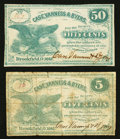 Obsoletes By State:Ohio, Brookfield, OH- Case, Vanness & Byers 5¢; 50¢ 1862 Wolka0217-01; -04. ... (Total: 2 notes)