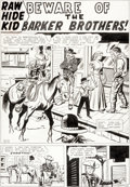"Original Comic Art:Splash Pages, Jack Kirby and Dick Ayers Rawhide Kid ""Beware of the BarkerBrothers"" Title Page 1 Original Art (Marvel, 1961)..."