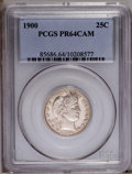 Proof Barber Quarters: , 1900 25C PR64 Cameo PCGS. PCGS Population (6/14). NGC Census: (7/17). (#85686)...