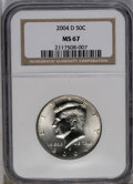 Kennedy Half Dollars: , 2004-D 50C MS67 NGC. NGC Census: (57/8). PCGS Population (369/24). (#6787)...