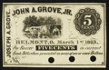 Obsoletes By State:Ohio, Belmont, OH- Joseph A. Grove at John A. Grove, Jr. 5¢ Mar. 1, 1863Wolka 0158-01. ...