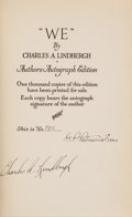 "Books:Americana & American History, Charles A. Lindbergh. ""We."" New York & London: G. P.Putnam's Sons, 1927. Number 109 of 1,000 copies of the Author..."