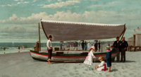 SAMUEL S. CARR (American, 1837-1908) The Oyster Seller, Coney Island Oil on canvas 10 x 18 inches