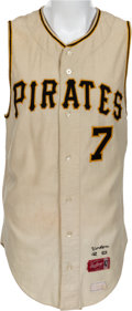 Baseball Collectibles:Uniforms, 1969 Bill Virdon Game Worn Pittsburgh Pirates Jersey....
