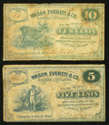 Obsoletes By State:Ohio, Chagrin Falls, OH- B. Williams at Wason, Everett & Co. 5¢; 10¢1862 Wolka 0307-01; -02. ... (Total: 2 notes)
