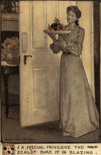 JESSIE WILLCOX SMITH (American, 1863-1935) As a Special Privilege the Zealot Bore it in Blazing, Scribner's Mag