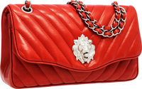 Chanel Red Lambskin Leather Leo Medium Single Flap Bag with Lion Closure