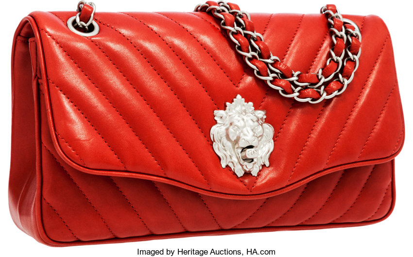 935458c85bba ... Luxury Accessories:Bags, Chanel Red Lambskin Leather Leo Medium Single Flap  Bag with LionClosure ...