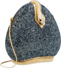 Luxury Accessories:Bags, Judith Leiber Full Bead Gray Crystal Snake Minaudiere Evening Bag....