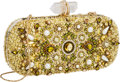 Luxury Accessories:Bags, Marchesa Full Bead Gold, Yellow & Green Crystal Evening ClutchBag. ...