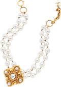 Luxury Accessories:Accessories, Chanel Glass Pearl Bi-Strand Necklace with Large Gold Medallion....