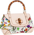 Luxury Accessories:Bags, Gucci Limited Edition Beige Leather & Floral Print Canvas FloraBag with Bamboo Handle . ...