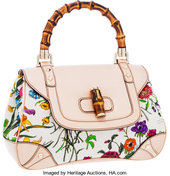 4a7580408 ... Luxury Accessories:Bags, Gucci Limited Edition Beige Leather &  Floral Print Canvas FloraBag ...