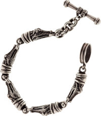 Kieselstein Cord Sterling Silver Alligator Head Bracelet with Toggle Closure