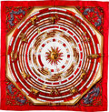 "Luxury Accessories:Accessories, Hermes 90cm Red & Gold ""Dies et Hore,"" by Francoise FaconnetSilk Scarf . ..."