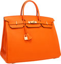 Luxury Accessories:Bags, Hermes 40cm Orange H Togo Leather Birkin Bag with Gold Hardware. ...