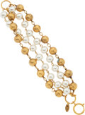 Luxury Accessories:Accessories, Chanel Glass Pearl & Gold Bead Four Strand Bracelet. ...