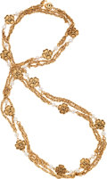 Luxury Accessories:Accessories, Chanel Gold Chain & Glass Pearl Necklace with CC Clover Charms. ...