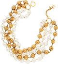 Luxury Accessories:Accessories, Chanel Glass Pearl & Gold Bead Four Strand Necklace. ...