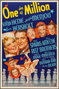 "One in a Million (20th Century Fox, 1937). One Sheet (27"" X 41"") Style B. Comedy"