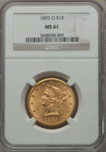 Liberty Eagles, 1893-O $10 MS61 NGC. Variety 1....