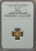 California Fractional Gold, 1876/5 $1 Indian Octagonal One Dollar, MS63 NGC. BG-1129, R.4....