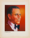 "Movie/TV Memorabilia:Original Art, A Frank Sinatra Print from the Cover of a ""TV Guide,"" 1973...."