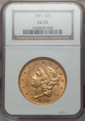 Liberty Double Eagles, 1861 $20 AU53 NGC....