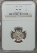 Three Cent Nickels, 1883 3CN MS62 NGC....