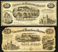 Obsoletes By State:Ohio, Cincinnati, OH- The Cincinnati, Hamilton & Dayton Rail Road$20; $50 Wolka 0417-01; -02. ... (Total: 2 notes)
