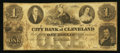 Obsoletes By State:Ohio, Cleveland, OH- The City Bank of Cleveland $1 Oct. 20, 1855 G2aWolka 0712-02. ...