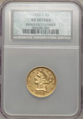 1858-C $5 -- Improperly Cleaned -- NCS. AU Details. Variety 1....(PCGS# 8277)