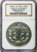 U.S. Presidents & Statesmen, 1864 Lincoln-Johnson Campaign Medal, MS62 Prooflike NGC.DeWitt-AL-1864-1....